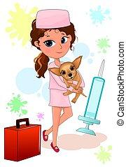 dziewczyna, herb, pies, jej, doktor