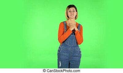 dziewczyna, herb, przód, rzewliwość, ekran, zielony, ...