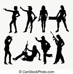 dziewczyna, i, broń, sylwetka