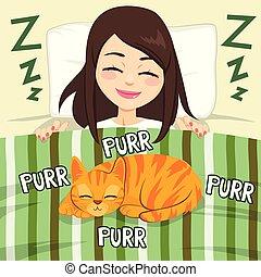dziewczyna, i, kot, spanie