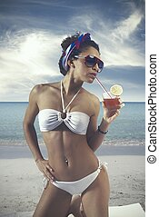 dziewczyna, i, plaża, rocznik wina
