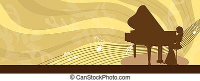 dziewczyna, interpretacja, piano-, osłona, facebook