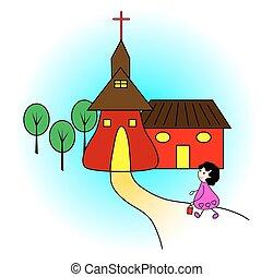 dziewczyna, jechawszy do kościoła