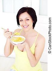 dziewczyna, jedzenie, corn-fleksy