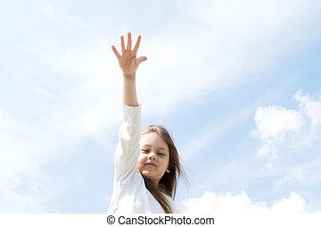dziewczyna, jego, podciągając, ręka