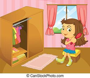 dziewczyna, jej, włosy, wnętrze, szczotkowanie, pokój