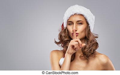 dziewczyna, kapelusz, santa