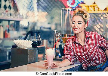 dziewczyna, kawiarnia, szpilka-do góry