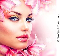 dziewczyna kobiety, piękno, twarz, flowers., storczyk, piękny