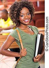dziewczyna, kolegium, młody, afrykanin