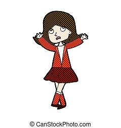 dziewczyna, komik, nieszczęśliwy, rysunek