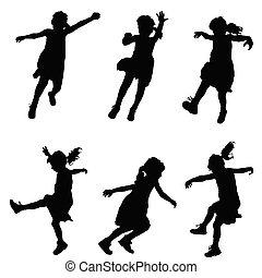 dziewczyna, komplet, sylwetka, ilustracja, szczęśliwy