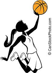 dziewczyna, koszykówka, layup