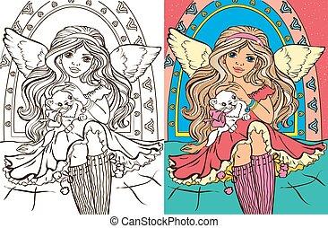 dziewczyna, książka, kolorowanie, anioł, kot