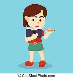 dziewczyna, książka, pisanie
