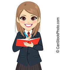 dziewczyna, książka, student, pisanie