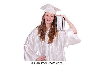 dziewczyna, książki, odizolowany, biały, absolwent