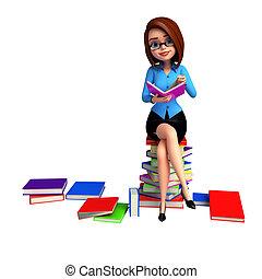 dziewczyna, książki, stos, młody, posiedzenie