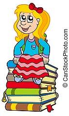 dziewczyna, książki, stos, posiedzenie