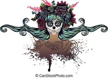 dziewczyna, kwiat, korona, czaszka, cukier