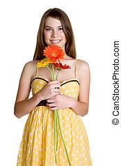 dziewczyna, kwiaty, dzierżawa