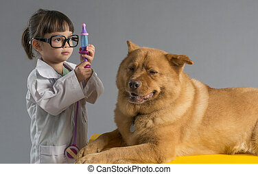 dziewczyna, lekarz weterynarii, interpretacja, pies