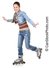 dziewczyna, lekkoatletyka, rolkowe łyżwy