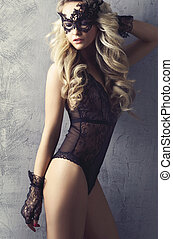 dziewczyna, lingerie., młody, blond, underwear., maska, kobieta, przedstawianie, piękny, sexy