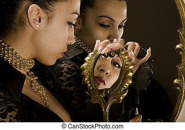 dziewczyna, lustra, złoty, ułożyć, antiquarian, odbicie