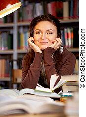 dziewczyna, młody, biblioteka