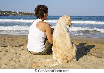 dziewczyna, młody, pies