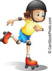 dziewczyna, młody, rollerskating