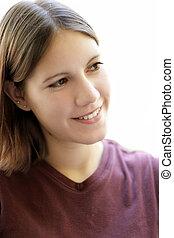 dziewczyna, młody, uśmiechanie się