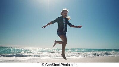 dziewczyna, młody, wyścigi, plaża