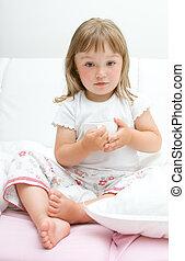 dziewczyna, mały, chory