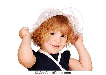 dziewczyna, mały, kapelusz, biały, piękno
