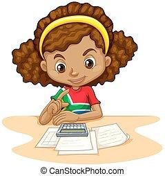 dziewczyna, mały, używając, kalkulator