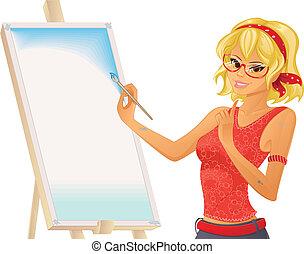 dziewczyna, malarstwo, ładny
