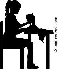 dziewczyna, maszyna, sylwetka, szycie