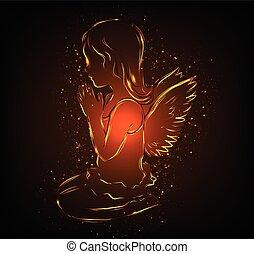 dziewczyna, modlący się, mały anioł, jarzący się