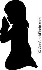 dziewczyna, modlący się, sylwetka, młody