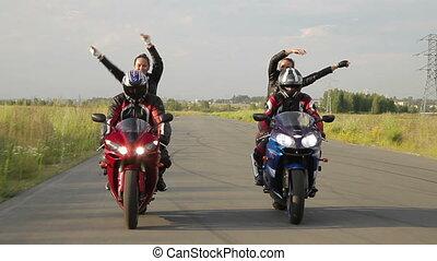 dziewczyna, motorcycles, taniec