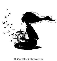 dziewczyna, motyle
