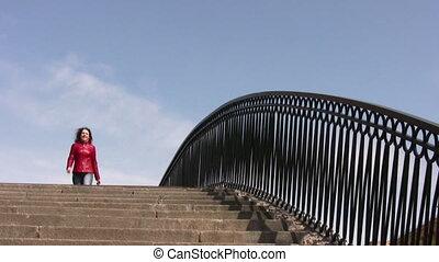 dziewczyna, na, most