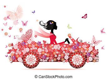dziewczyna, na, niejaki, czerwony kwiat, wóz