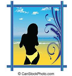 dziewczyna, na plaży, w, przedimek określony przed...