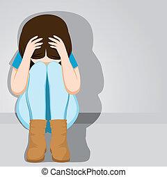 dziewczyna, nastolatek, rozpaczliwy, smutny