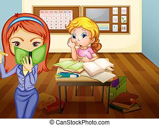 dziewczyna, nauczyciel, klasa