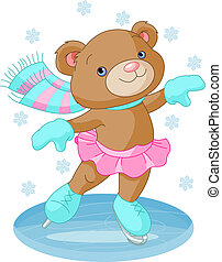 dziewczyna, niedźwiedź, sprytny, łyżwy, lód