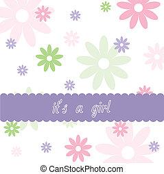 dziewczyna, niemowlę, kwiatowy, przybycie, próbka